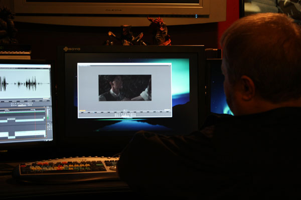 Bob Berg editing the Highwayman promo footage with Adobe Premiere CS4