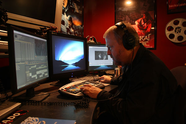 Bob Berg editing the Highwayman promo footage shot with the RED ONE camera