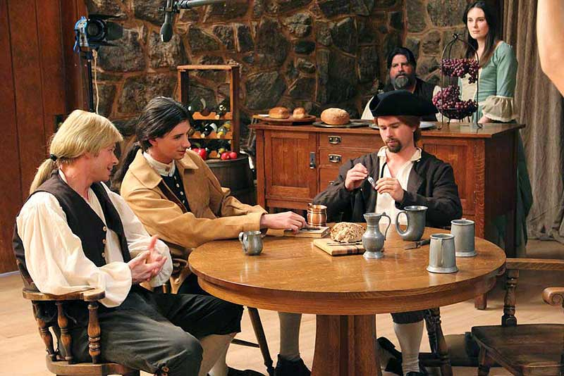 George Lindsey (Ben Kroger), Will Stiles (Macleish Day) and Gregory (Nathan Cook) in the tavern with Jake the Innkeeper (Tom Doyle) and his daughter Bess (Marianne Page)